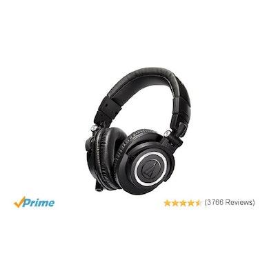 Audio-Technica ATH-M50x Professional Studio Monitor Headphones: Musi
