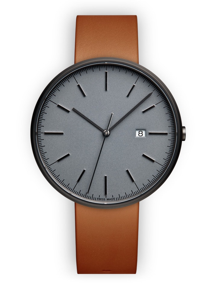 UNIFORM WARES M40 PVD Grey Date Watch with Tan Nappa Leather Strap - Official UN