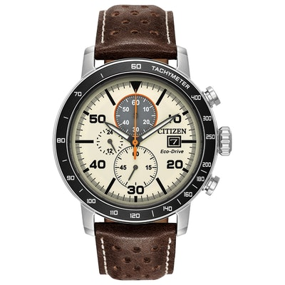 Brycen - Men's Eco-Drive CA0649-06X Leather Strap Watch | Citizen