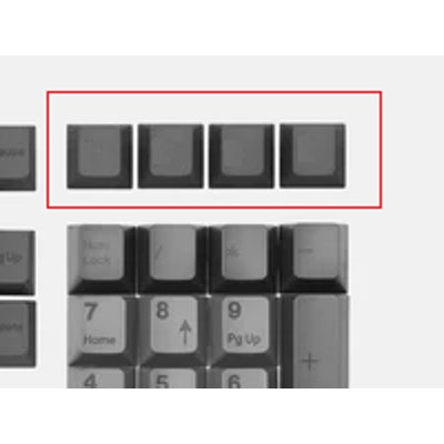 Top row blank dark grey keycaps
