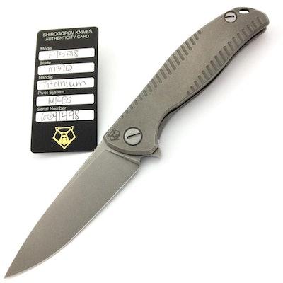 SHIROGOROV F95R18 - M390 BLADE - STONEWASHED TITANIUM HANDLE - MRBS KNIFE | Reco