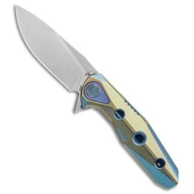 "Rike Knife Thor4s Integral Frame Lock Flipper Knife Blue/Green Ti (2.3"" Satin) -"