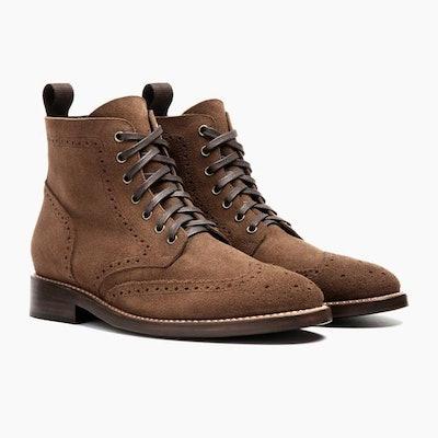 Cognac Suede Wingtip Boot | Thursday Boot Company                     Arrow