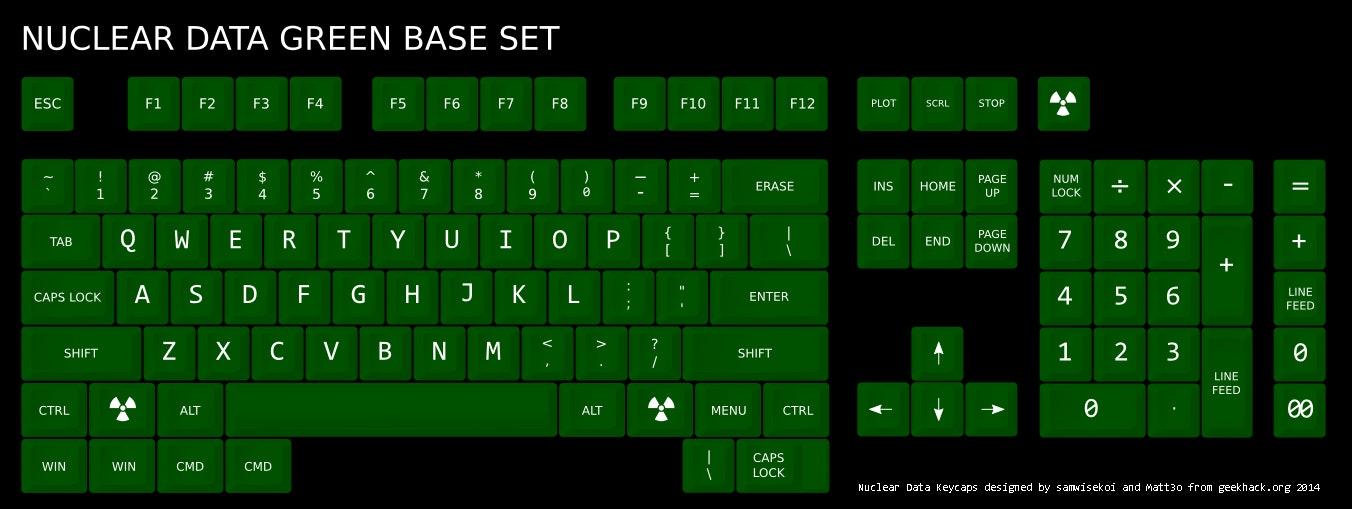 Nuclear Data Green Old-Skool SA Row 3 Keycaps