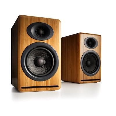 Audioengine P4 Premium Passive Bookshelf Speakers, Bamboo