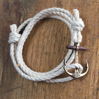 The Classic Maritime Anchor Bracelet - Copper on Cotton Rope   Maritime Supply C