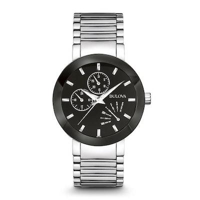 Bulova Stainless Steel Black Dial Quartz Modern Watch