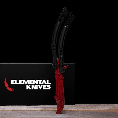 Real Crimson Web Butterfly - Elemental Knives  (Sharp or Blunt/Dull)
