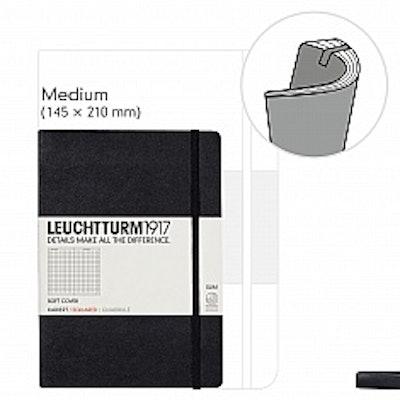 LEUCHTTURM1917, Notebook Medium (A5), Softcover, Dotted, Black