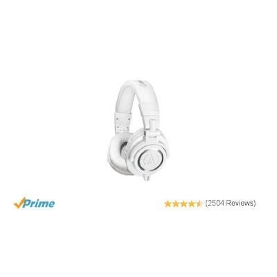 Audio-Technica ATH-M50xWH Professional Studio Monitor Headphones