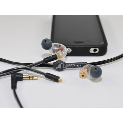 Black Dragon IEM headphone cable for Shure Earphones V1 (MMCX) by Moon Audio