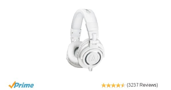 Amazon.com: Audio-Technica ATH-M50xWH Professional Studio Monitor Headphones: Mu