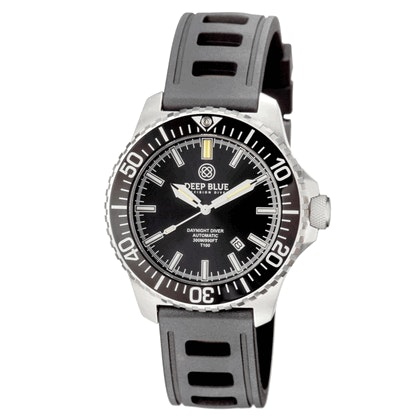 DAYNIGHT  DIVER T-100  AUTOMATIC � SS BLACK DIVER WITH HYDRO 91 RUBBER STRAP - D