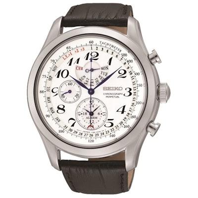 Seiko Men's SPC131P1 Neo Classic Alarm Perpetual Chronograph White Dial