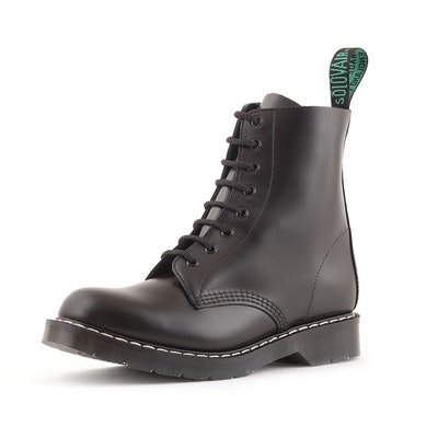Solovair 8 Eye Derby in Black, Smooth Leather (Made in England)