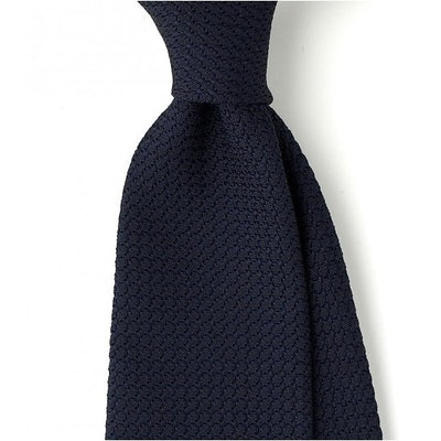 fe797d450aca Navy Grenadine - Handrolled Woven Large Knot Solid 8cm Silk Tie