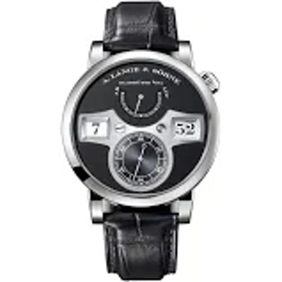 A. Lange and Sohne Zeitwerk Black Dial 18K White Gold Men's Watch 140.029