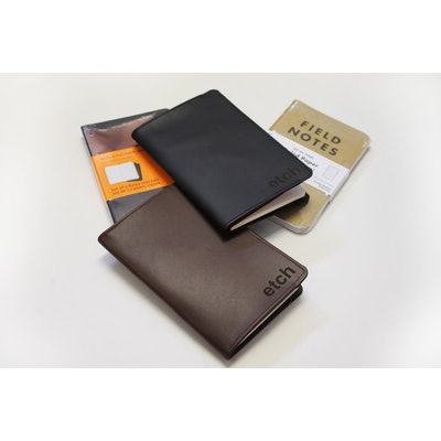 Etch | Brown: Moleskine Cahier (3 pack included) | Leather Journal Cover