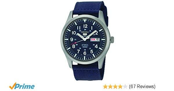 Amazon.com: Seiko 5 Sport Automatic Navy Blue Canvas Mens Watch SNZG11: Seiko: W