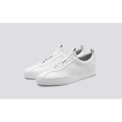 Sneaker 1   Mens Oxford Sneaker in White Calf Leather with a White Rubber Sole  