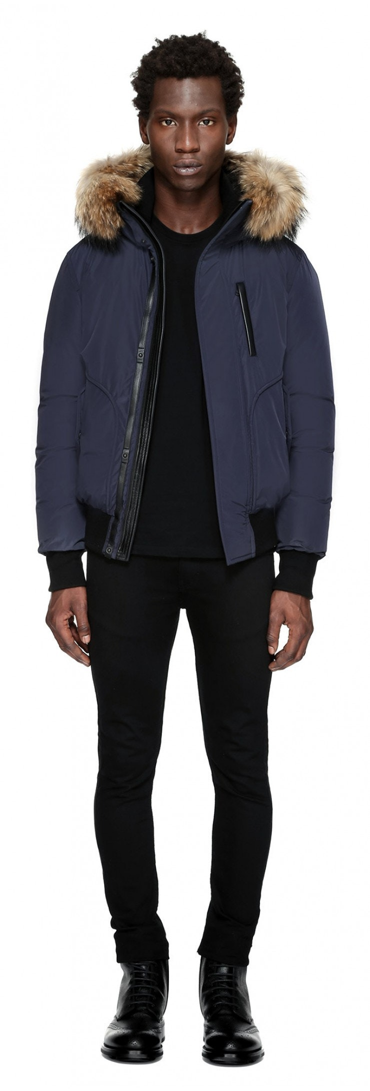 Mackage -  FLORIAN WINTER DOWN BOMBER JACKET WITH FUR IN INK FOR MEN BY MACKAGE