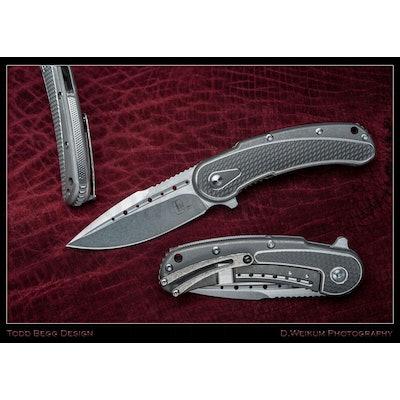 "Todd Begg Steelcraft Series Mini Bodega Flipper 3"" S35VN Stonewashed Plain Blade"
