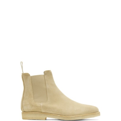 Common Projects: Tan Suede Chelsea Boots | SSENSE