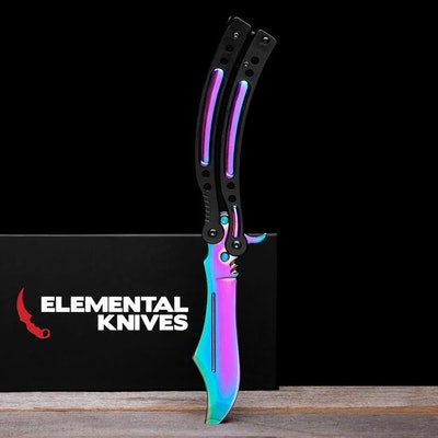 Rainbow Fade Butterfly 2 - Real CSGO Knife - Elemental Knives   American Expr