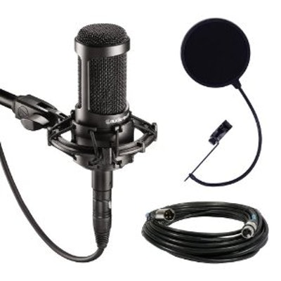 Audio-Technica AT2035 Large Diaphragm Studio Condenser Microphone Bundle with Sh