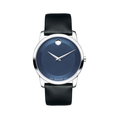 Movado | Museum Men's Stainless Steel Watch With Blue Dial and Black Strap | Mov
