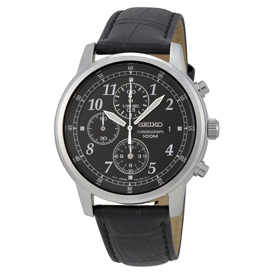 Seiko Chronograph Black Dial Black Leather Men's Watch SNDC33 - Stainless Steel