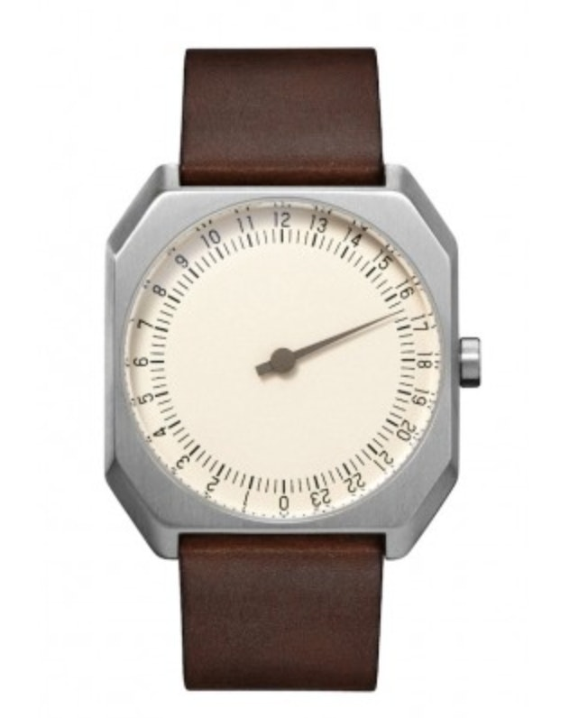 slow Jo 17 -  Silver Swiss watch with stainless steel case and dark brown vintag