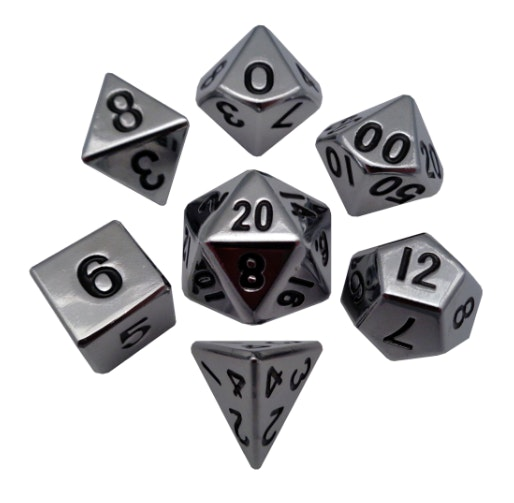 Metal Dice: 16mm Shiny Plated Polyhedral Dice Sets – Metallic Dice Games