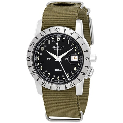 Glycine Airman 1953 Vintage Automatic Black Dial Men's GMT Watch GL0217 - Airman