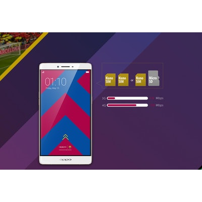 OPPO R7 Plus FC Barcelona Edition, ColorOS 2.1, 32GB, VOOC Flash Charge - OPPO G