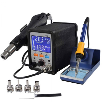 Lead Free SMD Hot Air Rework Soldering Iron Station LCD Display