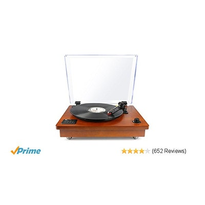 Amazon.com: 1byone Belt Driven Bluetooth Turntable with Built-in Stereo Speaker,