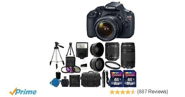 Amazon.com : Canon EOS Rebel T5 Digital SLR + canon EF-S 18-55mm f/3.5-5.6 IS &