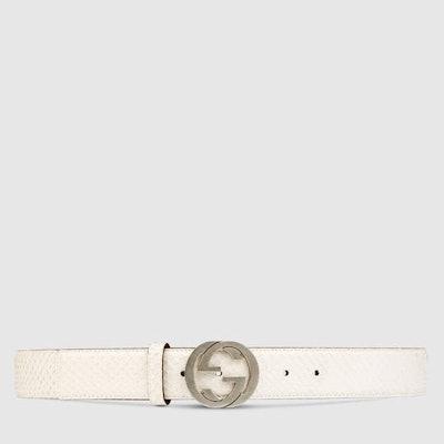 Gucci White Python belt