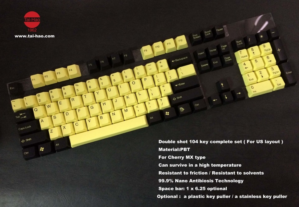 104 Key PBT Double Shot Keycap Set - Bumble Bee By Tai-Hao - ISO / NORDIC