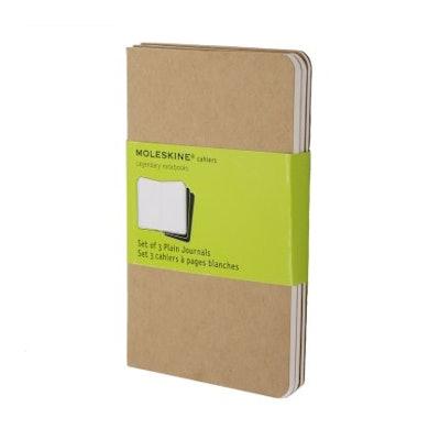 Set of 3 Plain Cahier Journals - Kraft Brown - Pocket - Moleskine ®