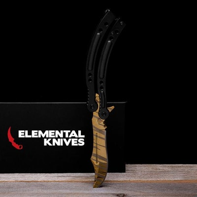 Real Tiger Tooth Butterfly - Elemental Knives  (Sharp or Blunt/Dull)