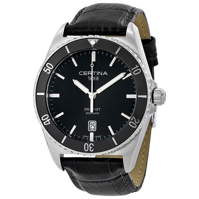 Certina DS First Ceramic  Black Leather Men's Watch C0144101605100 - DS First -