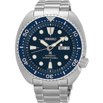 Seiko Turtle Prospex Automatic Dive Watch with Blue Dial and Stainless Steel Bra