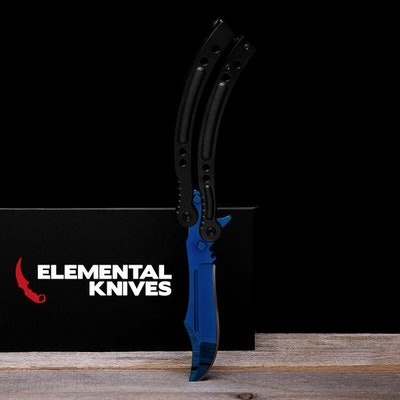 Real Blue Steel Butterfly - Elemental Knives  (Sharp or Blunt/Dull)