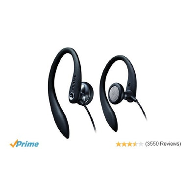Philips SHS3200BK/37 Flexible Earhook Headphones, Black
