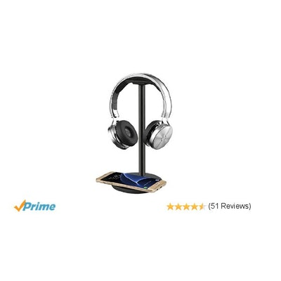 Ashbringer Headphone Headset Stand/Hanger/Holder/Mount with QI Wirel