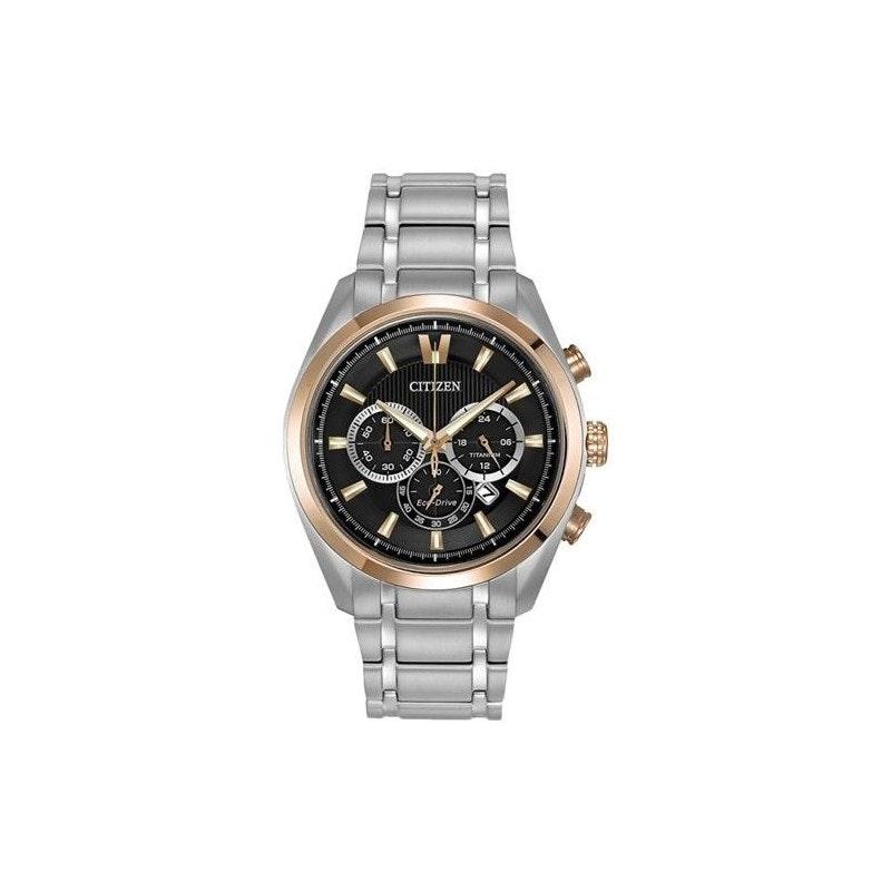 Citizen Watch Mens Titanium Men's Quartz Watch with Black Dial Analogue Display