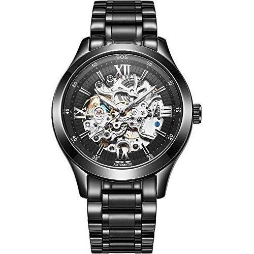 BOS Men's Automatic self-wind mechanical Waterproof Skeleton Watch Black Dial St
