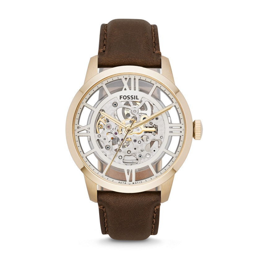 Townsman Automatic Brown Leather Watch - Fossil